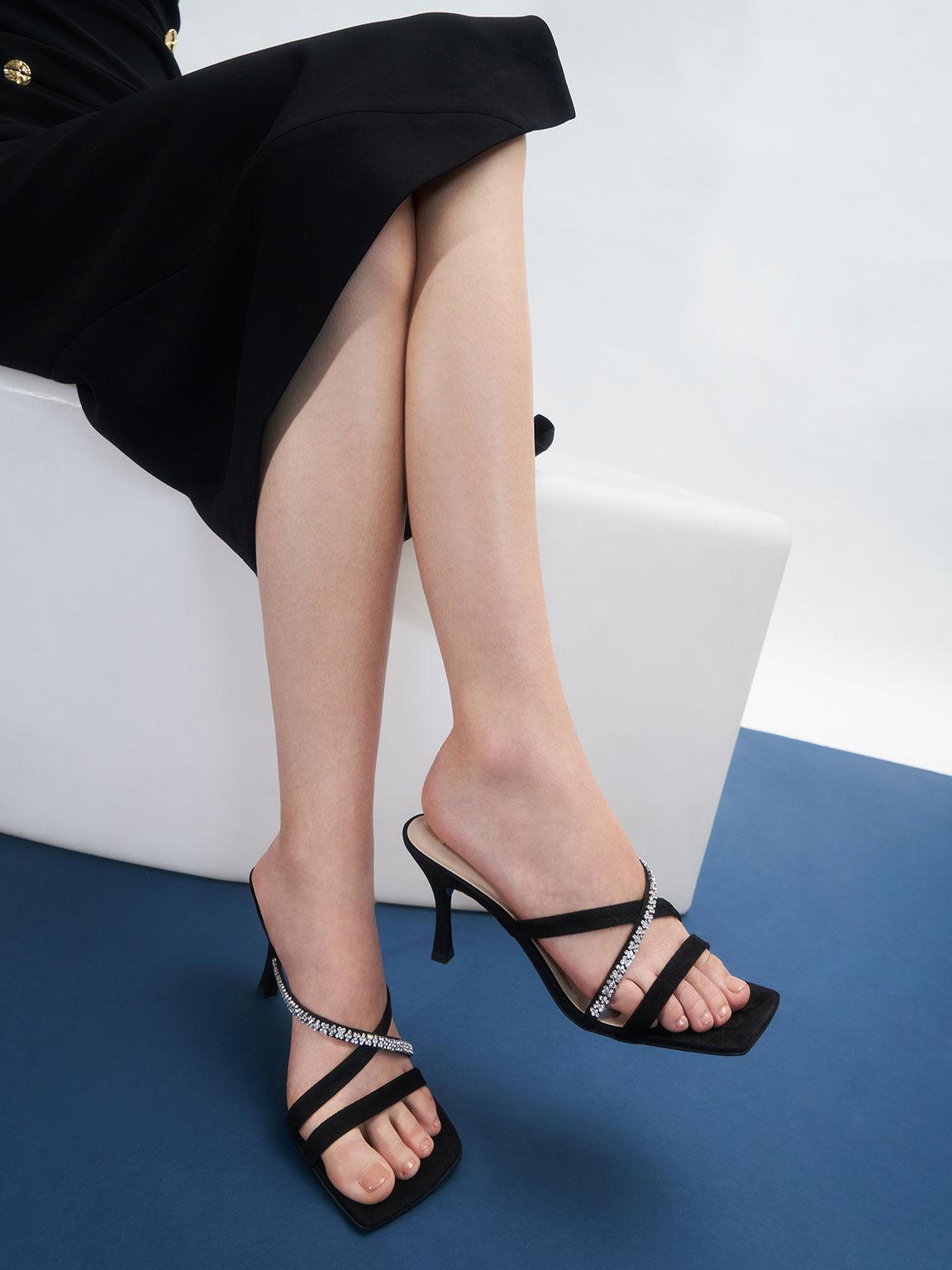 Textured Gem-Embellished Strappy Mules, Black, hi-res