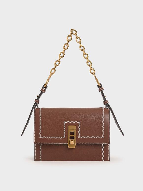 Turn-Lock Chain Handle Bag, Chocolate, hi-res
