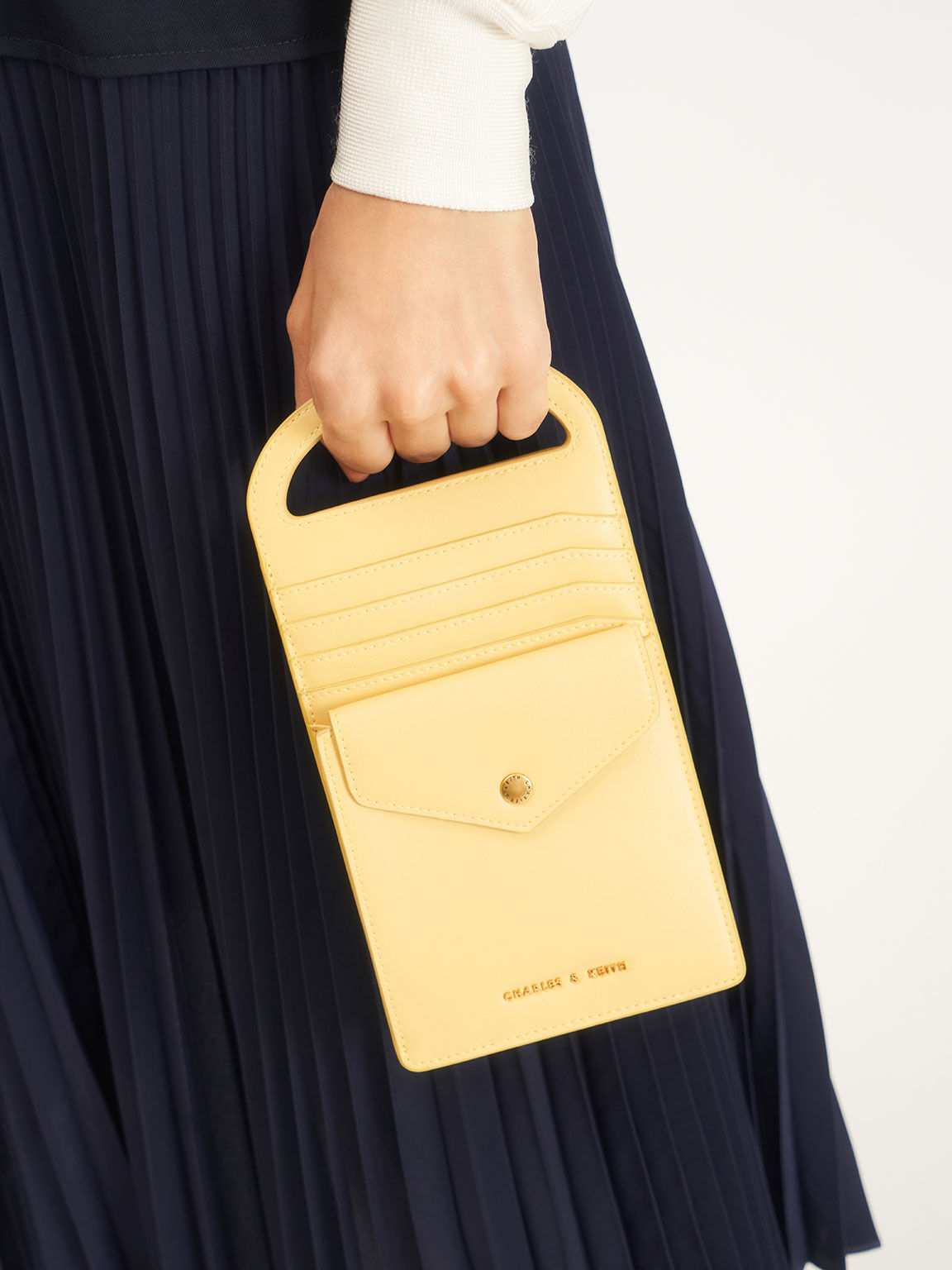 Chain Link Mini Pouch, Yellow, hi-res