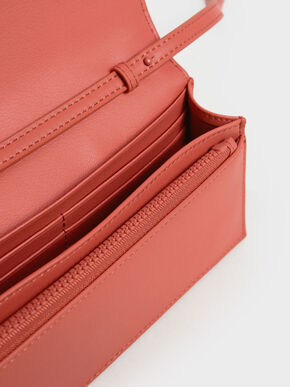 Panelled Long Wallet, Coral, hi-res