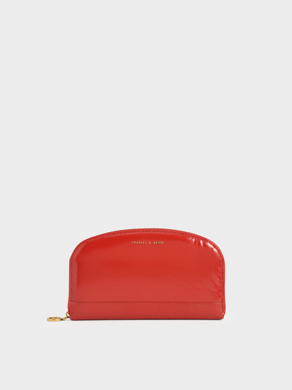 Curved Mini Long Wallet, Red, hi-res