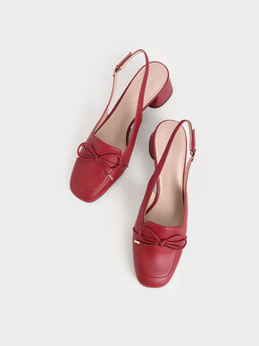 Bow Slingback Pumps, Red, hi-res