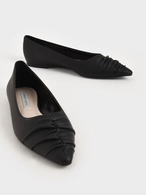Ruched Ballerina Flats, Black, hi-res