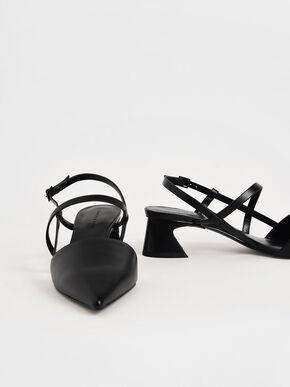 Strappy Trapeze Heel Pumps, Black, hi-res