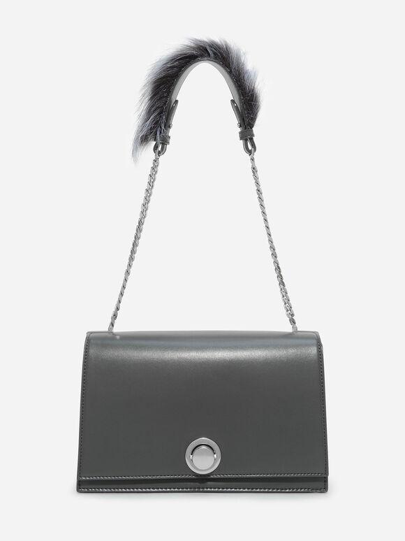 Metallic Accent Shoulder Bag, Grey, hi-res