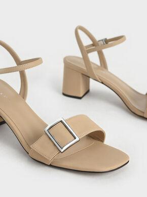 Buckle Strap Sandals, Beige, hi-res