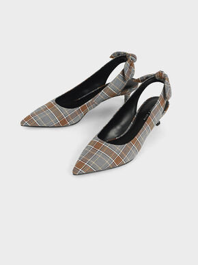 Check Print Fabric Bow Slingback Pumps, Grey, hi-res