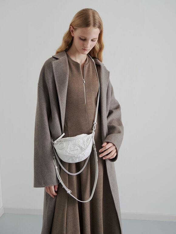 Half Moon Crossbody Bag, White, hi-res
