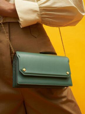 Front Flap Long Wallet, Green, hi-res