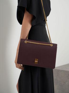 Chain Strap Shoulder Bag, Burgundy, hi-res