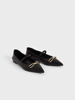 Metallic Bow Mary Janes, Black, hi-res