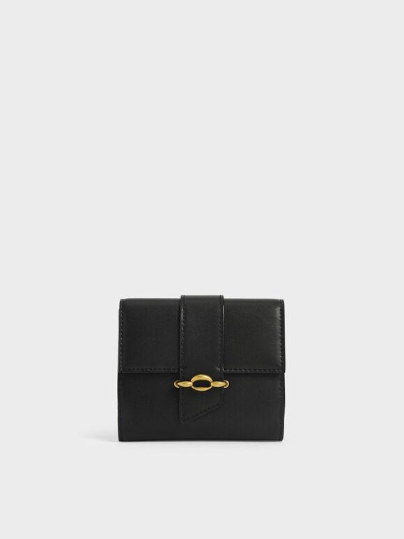 Belt Buckle Strap Short Wallet, Black, hi-res