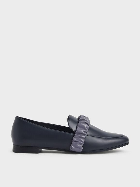 Ruched Strap Loafers, Dark Blue, hi-res