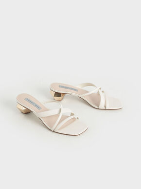 Cross Strap Heeled Mules, Chalk, hi-res