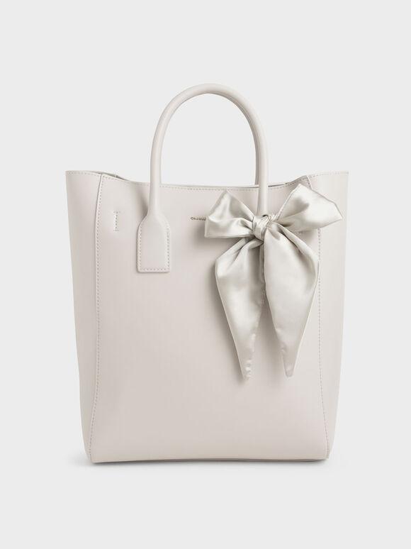 Bow Tote Bag, Ivory, hi-res