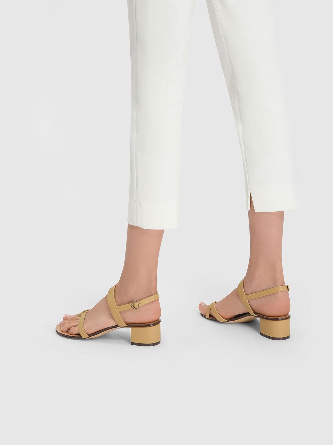 Slingback Thong Sandals, Camel, hi-res