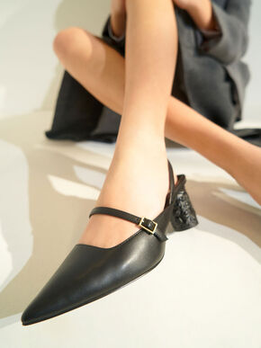 Embossed Heel Slingback Pumps, Black, hi-res