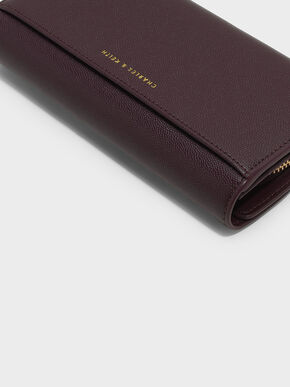 Circular Detail Wallet, Burgundy, hi-res
