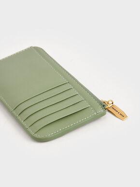 Top Zip Card Holder, Sage Green, hi-res