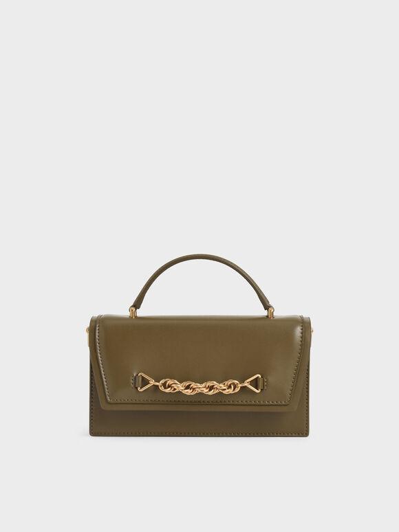 Top Handle Chain Link Long Wallet, Olive, hi-res