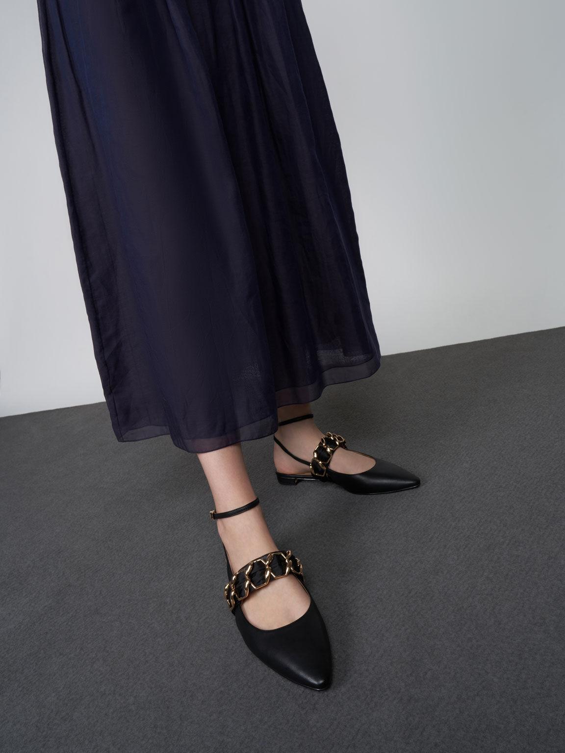 Satin Scarf Leather Ballet Pumps, Black, hi-res