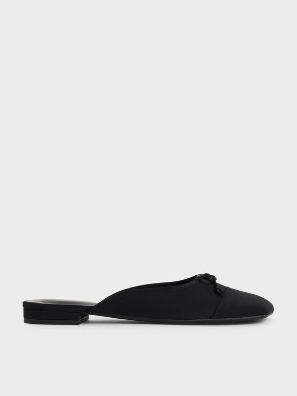 Bow-Tie Flat Mules, Black, hi-res