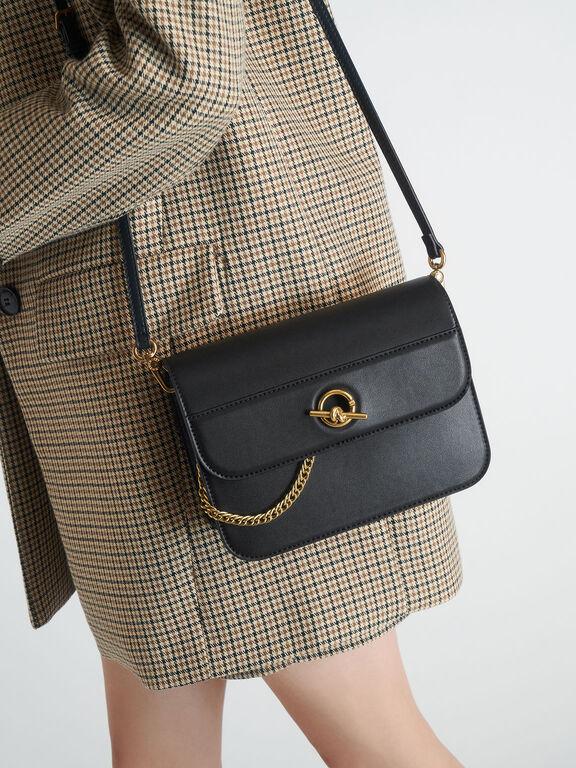 Metallic Accent Chain Handle Bag, Black, hi-res