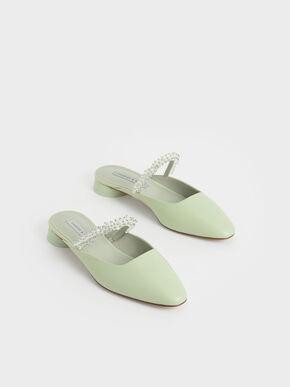 Embellished Strap Mules, Mint Green, hi-res