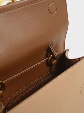 Metallic Accent Top Handle Bag, Beige, hi-res