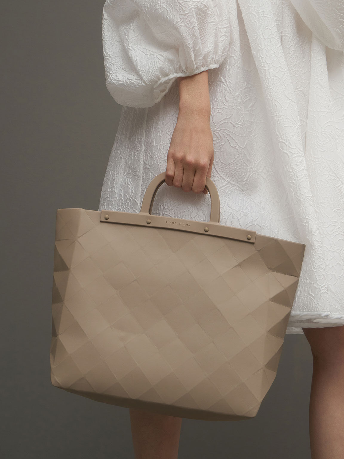 Double Handle Large Geometric Tote, Sand, hi-res