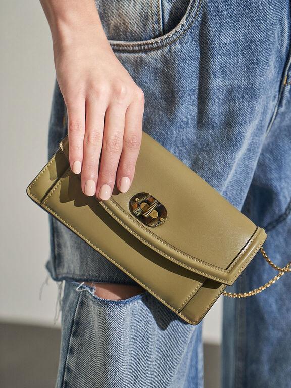Stone-Embellished Curved Long Wallet, Khaki, hi-res