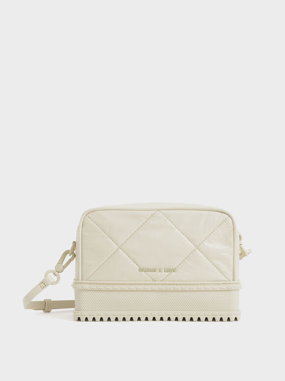 Quilted Top-Zip Crossbody Bag, Chalk, hi-res