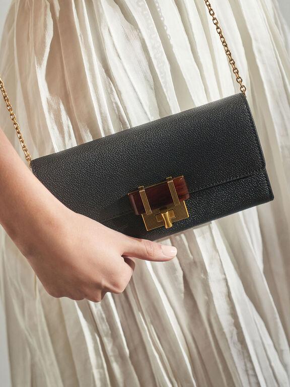 Stone-Embellished Long Wallet, Black, hi-res