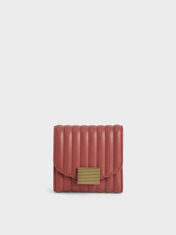 Panelled Short Wallet, Brick, hi-res