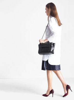 Trapeze Front Flap Handbag, Black, hi-res