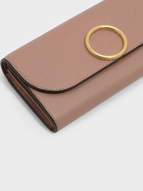 Circular Detail Wallet, Pink, hi-res