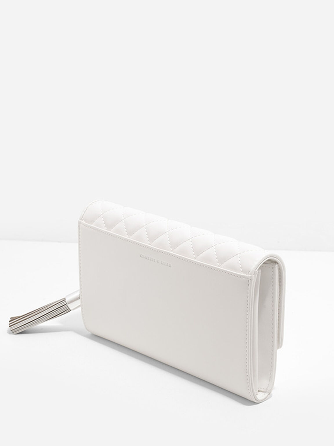 Quilted Clutch, White, hi-res