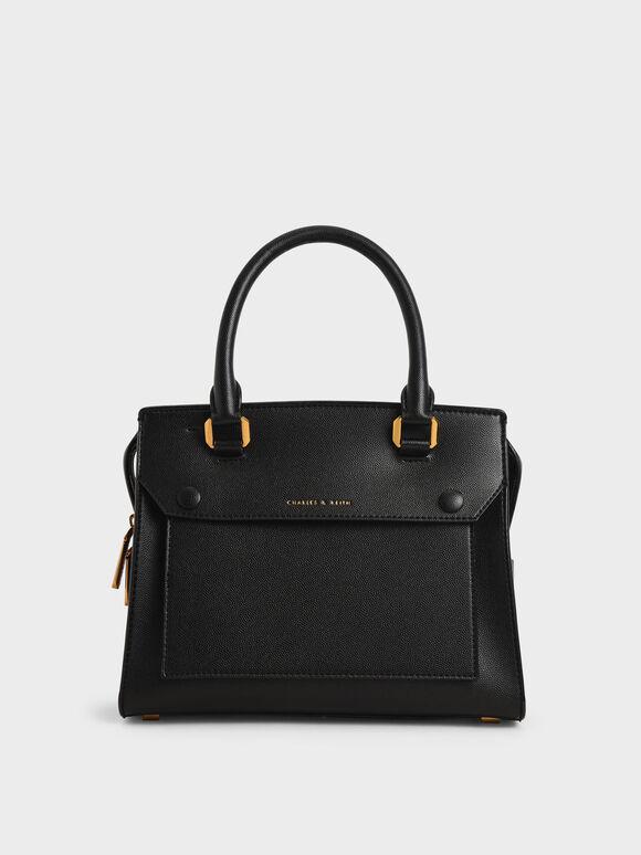 Double Top Handle Handbag, Black, hi-res