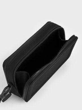 Grosgrain Stitch Trim Crossbody Bag, Black, hi-res