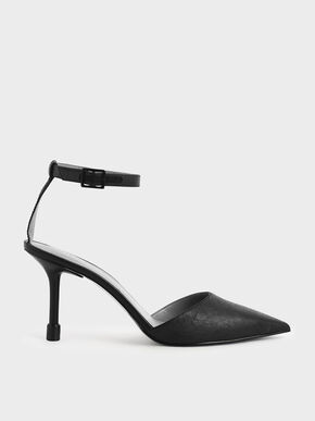 Ankle Strap Pointed Toe Pumps, Black, hi-res