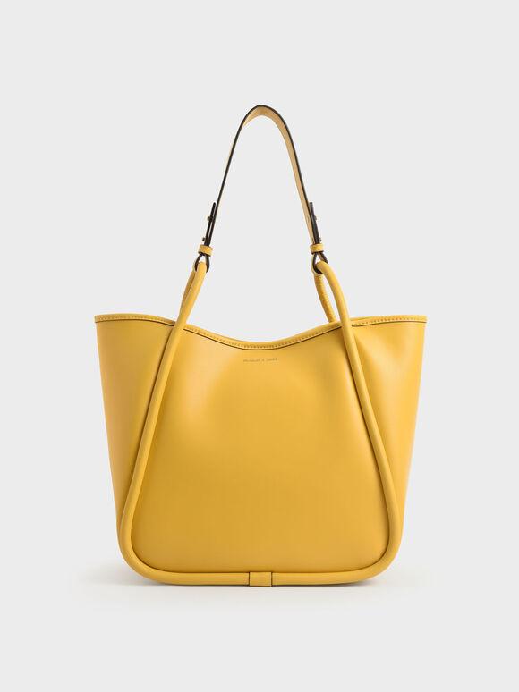 Circle Handle Tote Bag, Yellow, hi-res