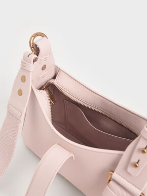 Chain Handle Shoulder Bag, Light Pink, hi-res