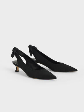 Fabric Bow Slingback Pumps, Black, hi-res