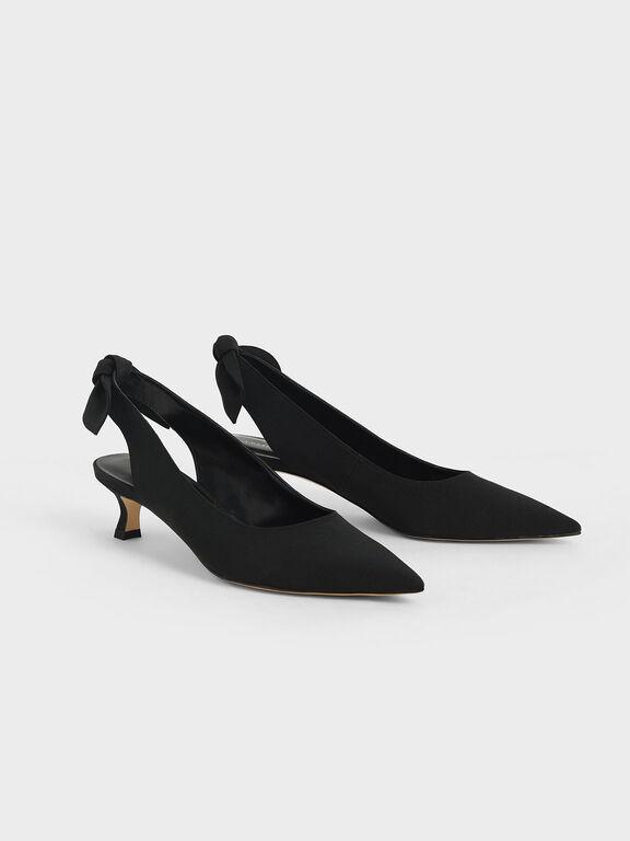 Fabric Bow Slingback Pumps, Black, hi-res