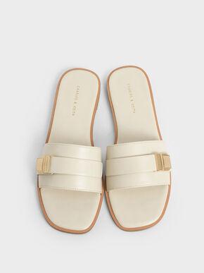 Buckle Detail Slide Sandals, Chalk, hi-res