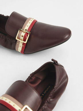 Studded Loafers, Brown, hi-res