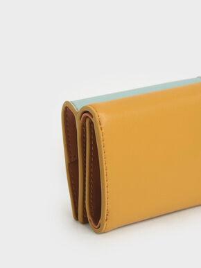 Two-Tone Stitch-Trim Wallet, Yellow, hi-res