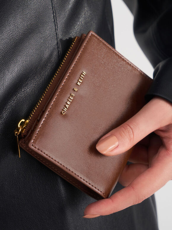Mini Top Zip Small Wallet, Chocolate, hi-res