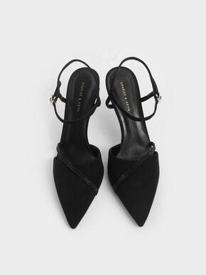 Textured Embellished Pumps, Black, hi-res