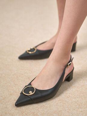 Ring Embellished Slingback Pumps, Black, hi-res